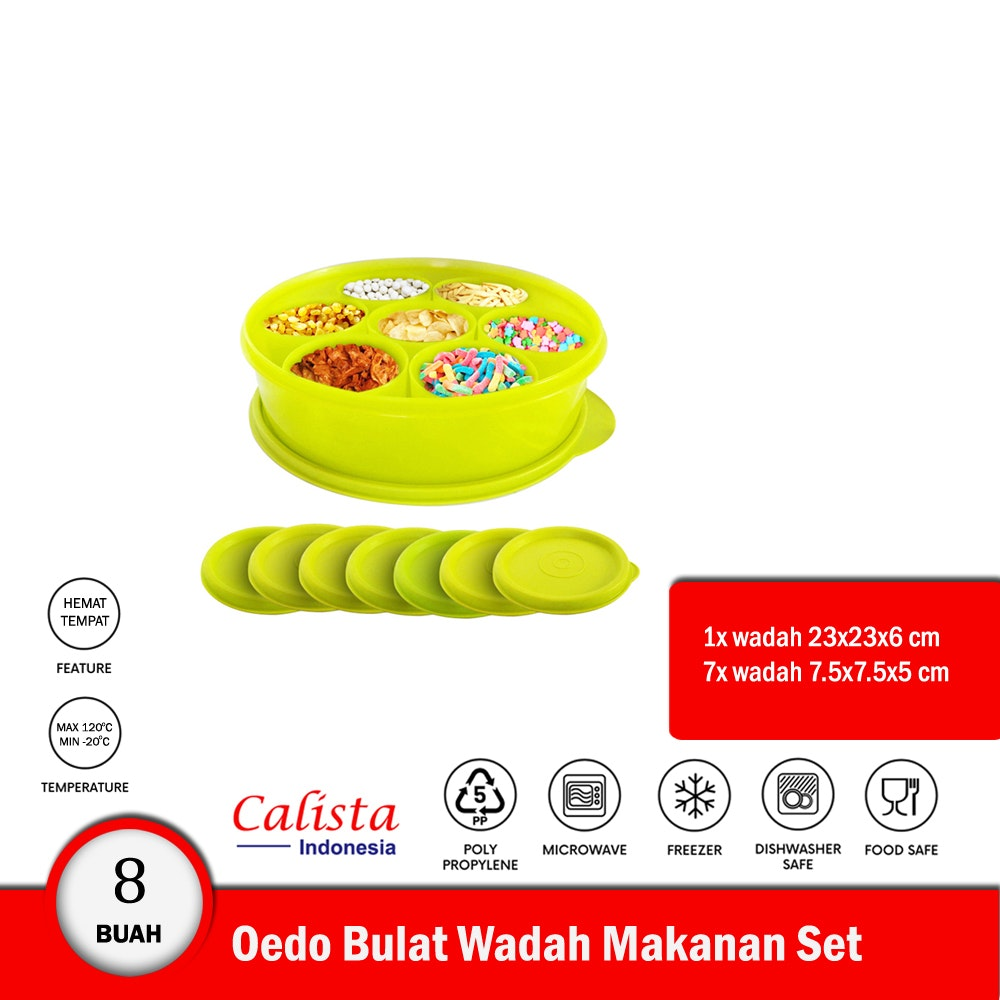 Calista Oedo Container Bulat Circle Container Set 8 buah - Kuning