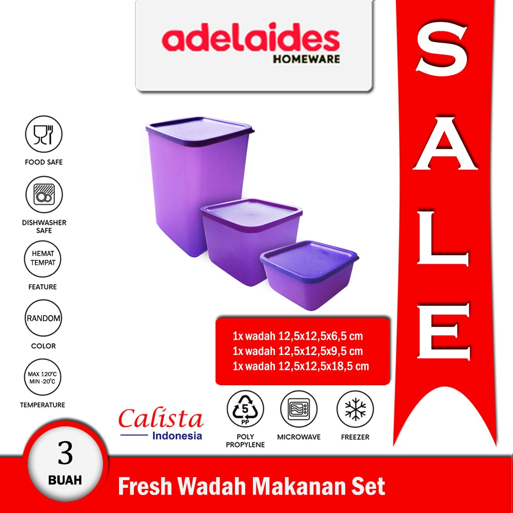 Calista Kotak Fresh - Set isi 3 buah - Ungu