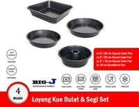 Big J Loyang Kue Bulat, Persegi, dan Bundtform Pan set isi 4