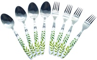 Viera Sendok Set Motif Green Leaf isi 8's set