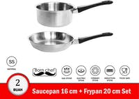 Born Chef Stainless Steel Tebal Penggorengan 20 cm & Panci Susu 16 cm Set