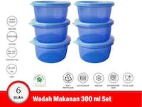 Green Leaf Fresh Wadah Makanan Plastik Bulat 300 ml Set isi 6 Warna Random