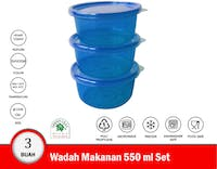 Green Leaf Fresh Wadah Makanan Plastik Bulat 550 ml Set isi 3