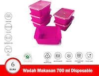 Green Leaf Wadah Makanan Plastik Disposable Set isi 6