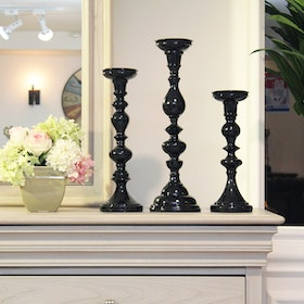 Imax Home Essential Black Candle Holders - Set Of 3