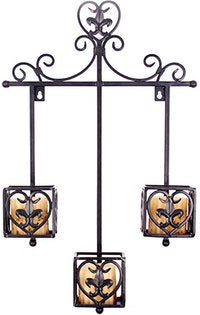 CBK Candleholder Wall Mount Three Cup With Square Adornment