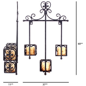 California Home Candleholder Wall Mount Three Cup With Square Adornment