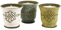 Imax Home Louise Ceramic Candles - Set Of 3