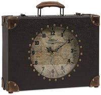 California Home World Map Suitcase Clock