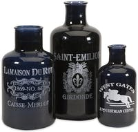 California Home Cantoni Black Glass Bottles - Set 3