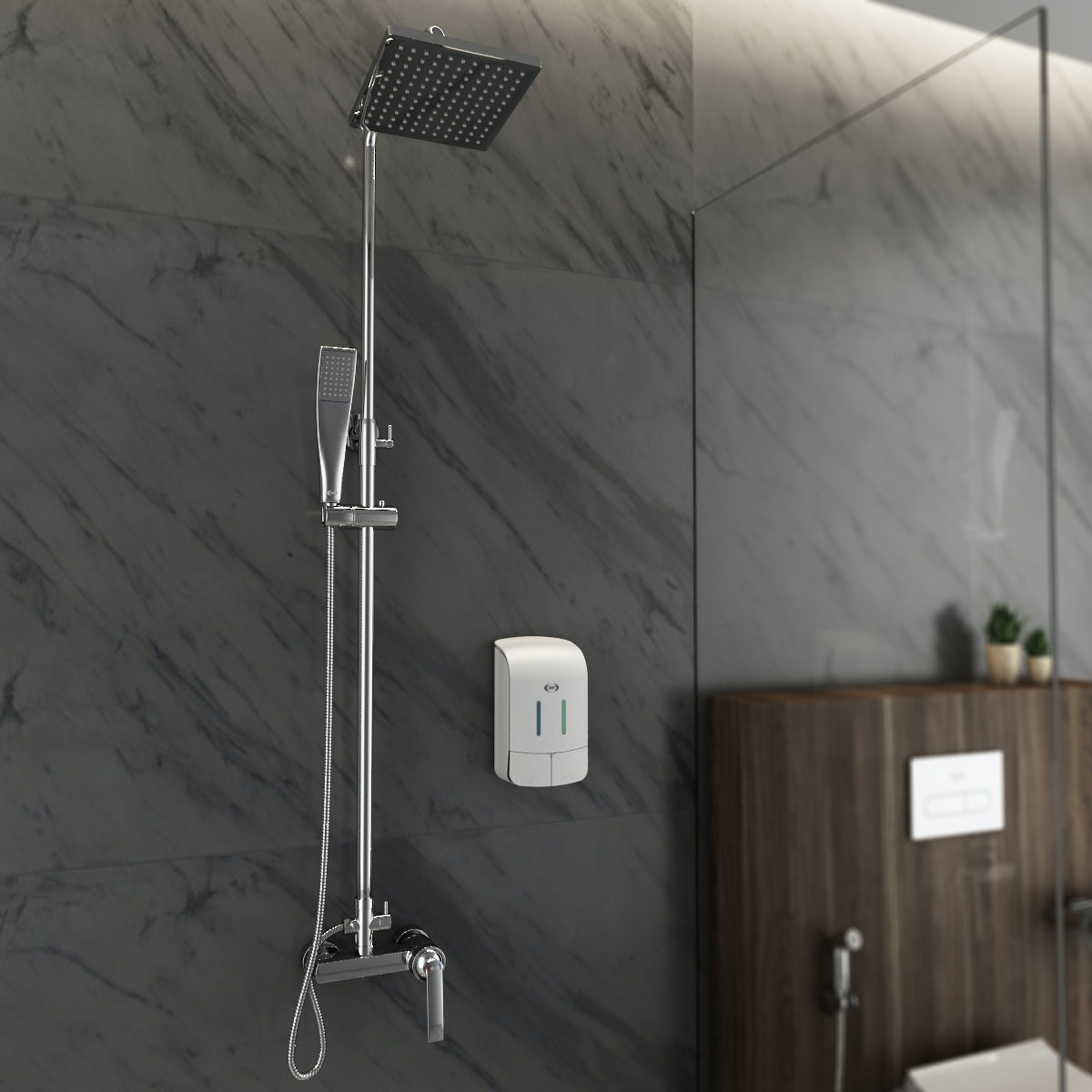 AER Mixer Shower Set (Wall+Hand Shower) Panas-Dingin, Kran Air, Keran MS-4