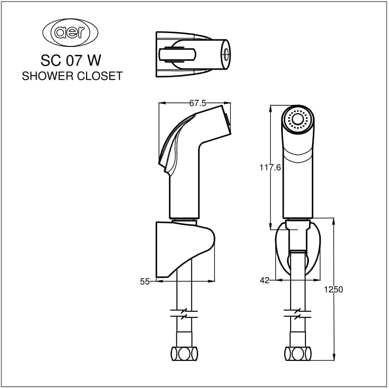 AER Shower Kloset / Closet Jet Shower / Bidet SC 07 W