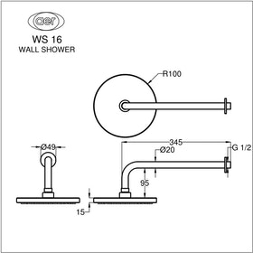 AER Shower Tembok / Wall Shower WS-16