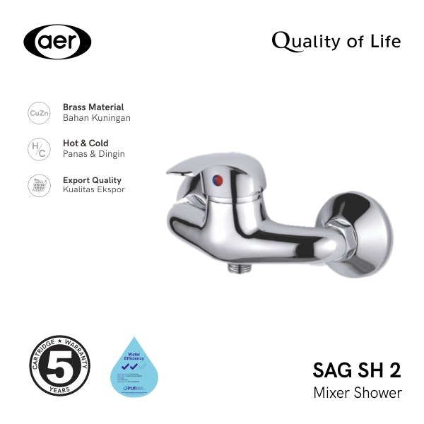 AER Kran Shower-Keran Air Panas Dingin / Mixer Shower Faucet SAG SH2 (24 x 11 x 18 cm)