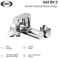 AER Kran Bathtub Shower Panas Dingin - Keran Air /Mixer /Hot Cold SAS BX2 (21 x 18 x 12 cm)