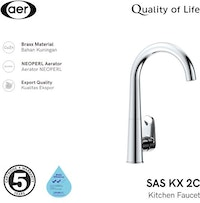AER Kran Dapur Air Dingin-Keran Air Kuningan-Single Faucet SAS KX2C (22x10x32 cm)