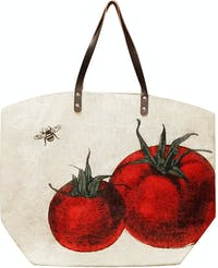 TWO'S COMPANY SHOPPING STRAW BAG TOMATO