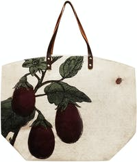 TWO'S COMPANY SHOPPING STRAW BAG EGGPLANT