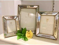 TWO'S COMPANY Two's Company Gold Leaf Photo Frames Set Of 3