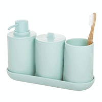 iDesign Cade Bath Accessories (Set of 4) Soft Aqua