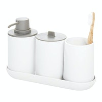 iDesign Cade Bath Accessories (Set of 4) White/ Gray
