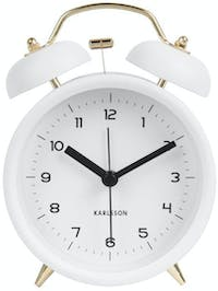 Karlsson Alarm Clock Classic Bell White With Gold, BOX32 H. 14cm, D. 5cm, Dial D. 10cm