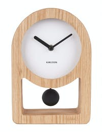 Karlsson Table Clock Lena Pendulum White, Wood Veneer D,25