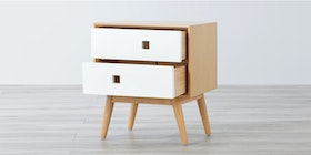 Alegre Nordic Night Table 2 Drawers White Mix