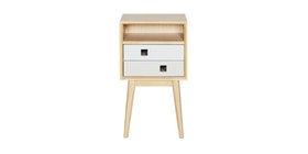 Alegre Nordic Night Table High 2 Drawers White