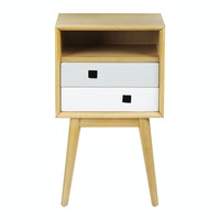 Alegre Nordic Night Table High 2 Drawers White Mix