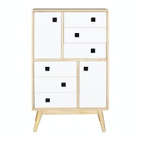 Alegre Nordic Commode High 6 Drawers White