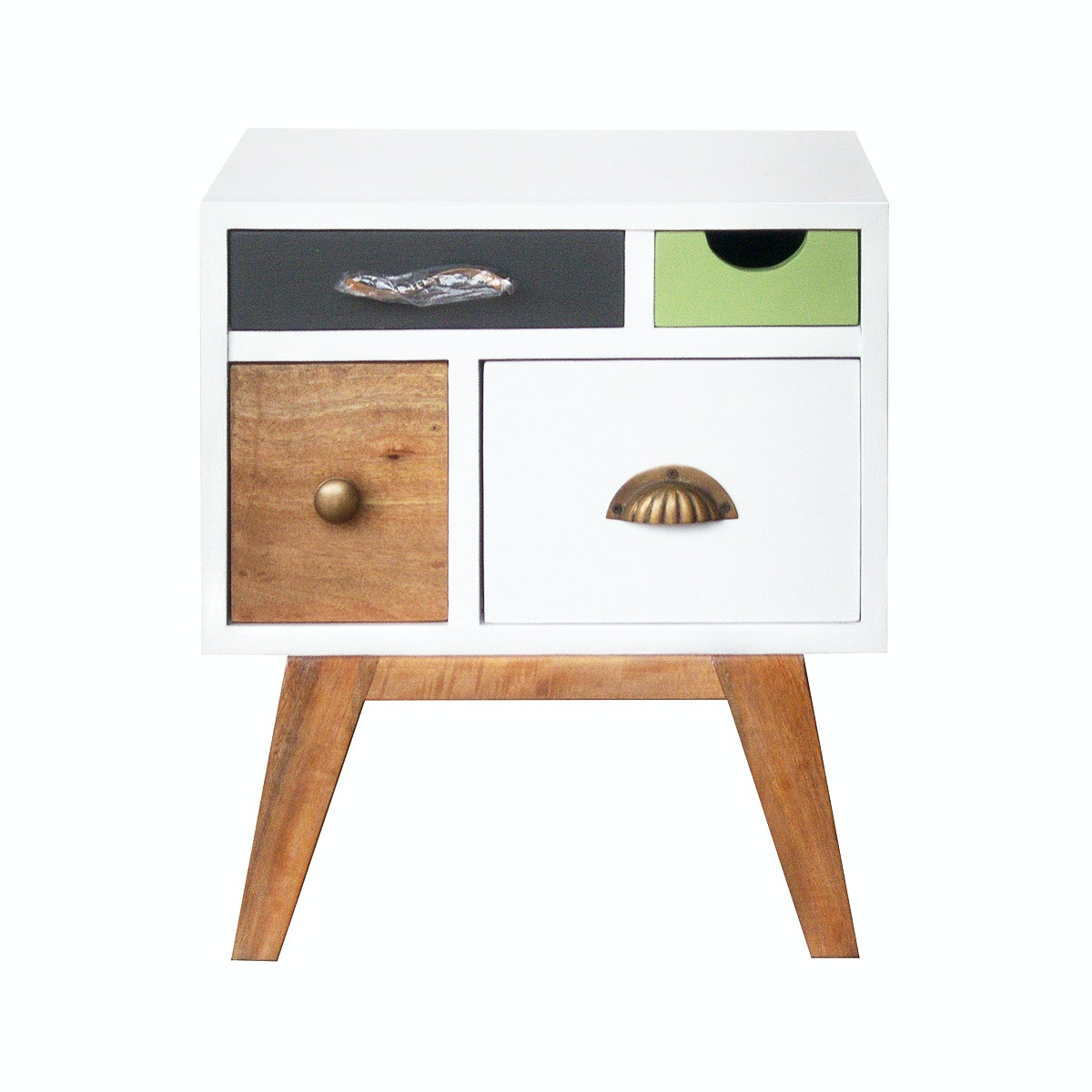 Alegre Rainbow Night Table With Legs Mix White