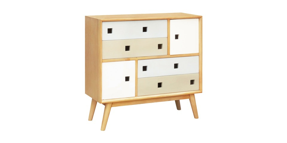 Alegre Nordic Commode 4 Drawers White Mix