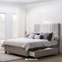 Heim Studio Hilda Bed Frame Single Drawer Queen Abu-abu