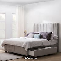 Heim Studio Hilda Bed Frame Single Drawer King Abu-abu