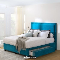 Ananta Laurent Bed Frame Single Drawer Queen Biru Oasis