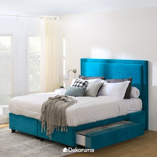 Ananta Laurent Bed Frame Single Drawer Extra King Biru Oasis
