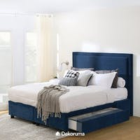 Ananta Laurent Bed Frame Single Drawer Extra King Biru Denim