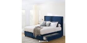 Ananta Laurent Bed Frame Single Drawer King Biru Denim