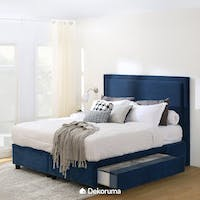 Ananta Laurent Bed Frame Single Drawer Queen Biru Denim