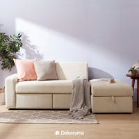 Ananta Yassu Sofa Bed Cream With  Storage + Free Puff Storage Lipat uk 50x30 cm
