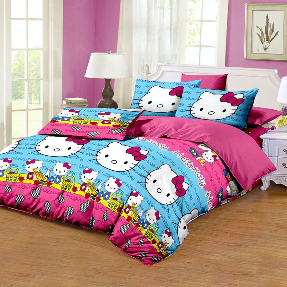 Pesona Disperse Sprei Kitty Blue Uk 120x200x20cm