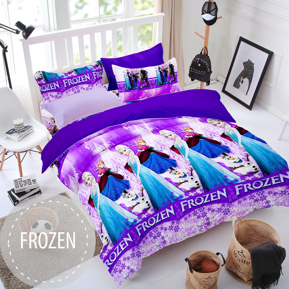 Pesona Sprei Disperse Frozen Ungu uk 160 T 20