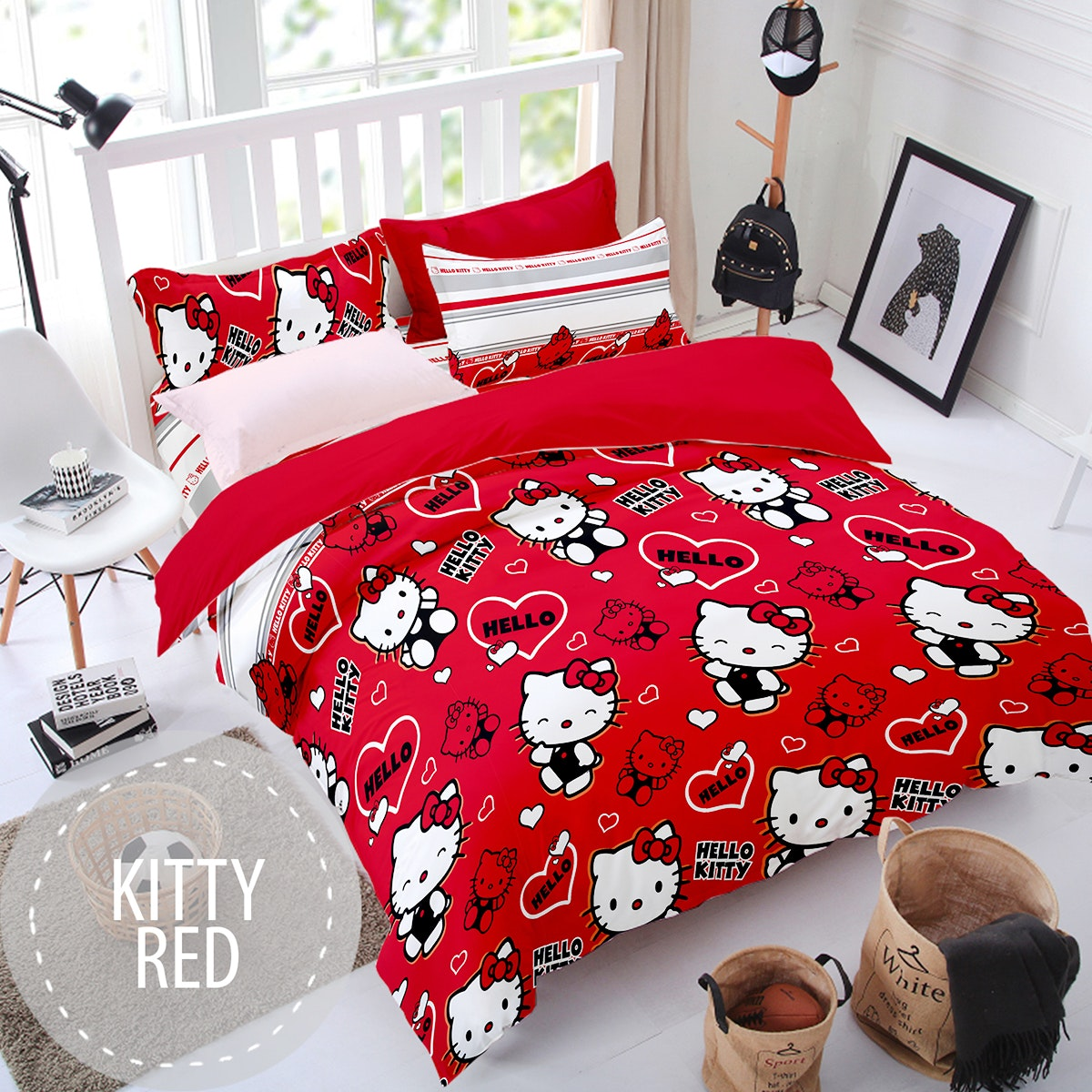Pesona Sprei Disperse Kitty Red uk 120 T 20