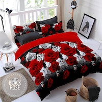 Pesona Sprei Disperse Black Rose Baru Uk 180 T20