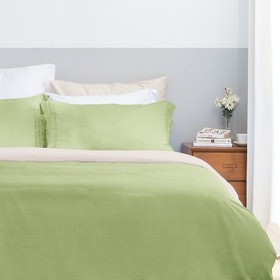 Aloevera Set Duvet Cover Light Green + Ecru 210X210cm