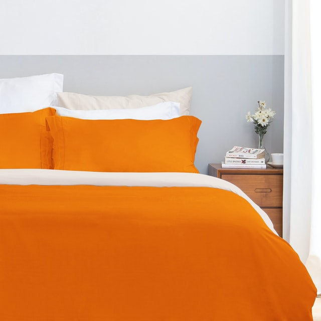Aloevera Set Duvet Cover Orange + Ecru 160X210cm