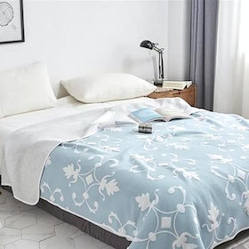 House of Windsor Floral Blanket Blue 200x235cm