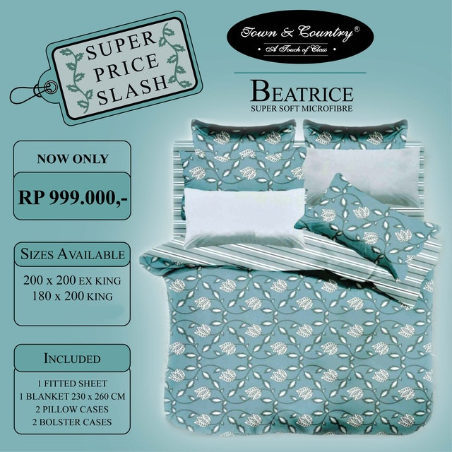 TOWN & COUNTRY Set Sprei Beatrice 180x200x40cm