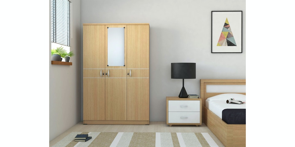 Anya Living Lemari Pakaian Felicity 3D - Light Walnut